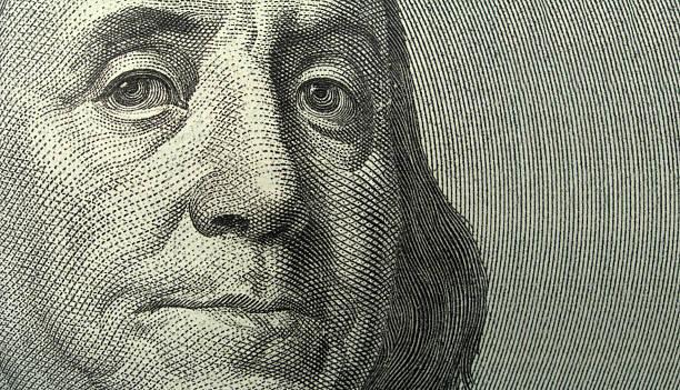Portrait of Benjamin Franklin with copyspase  benjamin franklin stock pictures, royalty-free photos & images