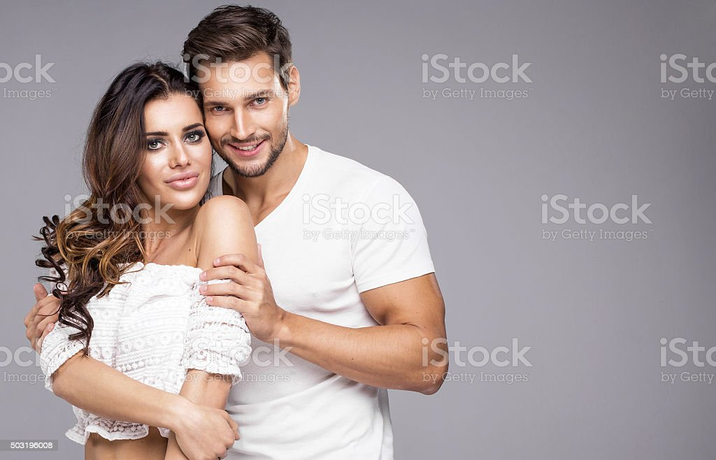 Portrait of beutiful young couple smiling stock photo