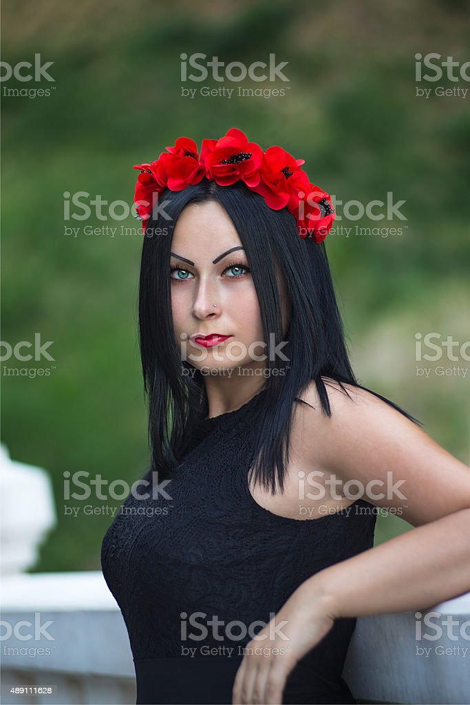 Portrait of black haired gothic woman stock photo