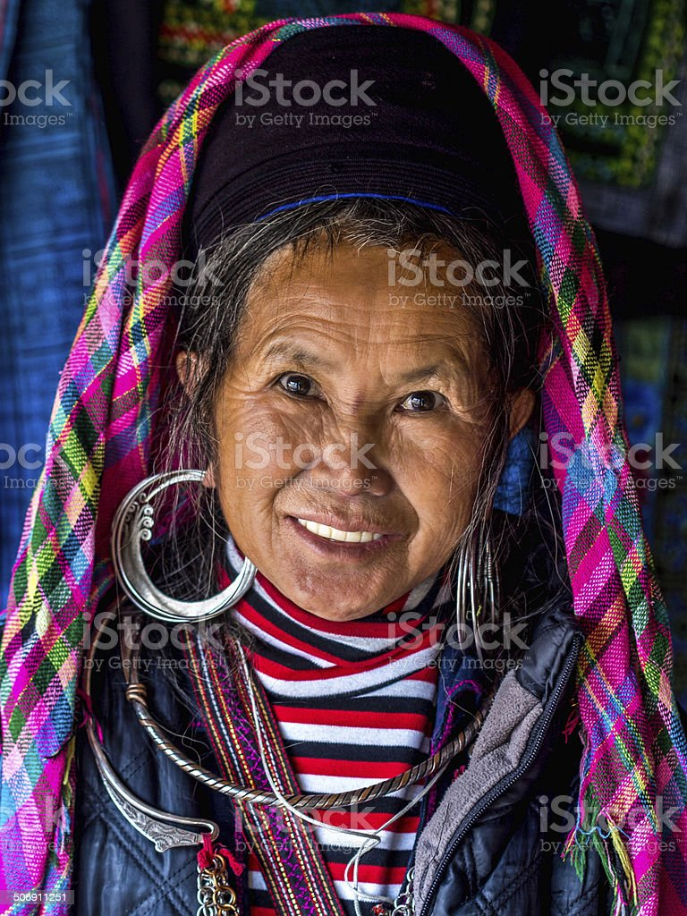 Portrait of Black Hmong Woman Wearing Traditional Attire, Sapa, Vietnam stock photo