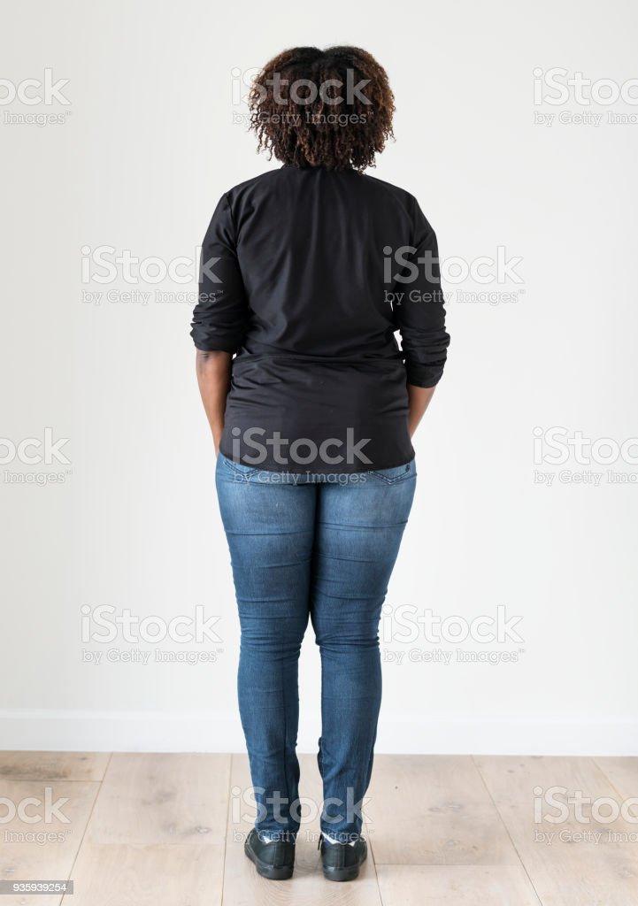 Portrait of black woman full body stock photo