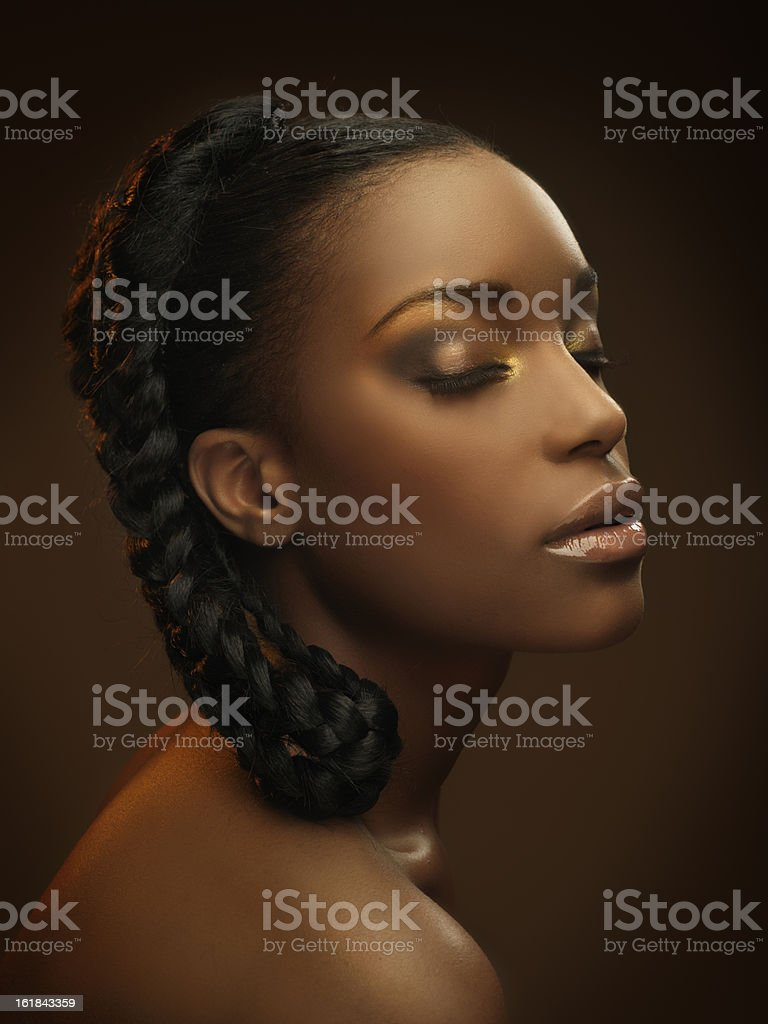 portrait of black woman with closed eyes royalty-free stock photo