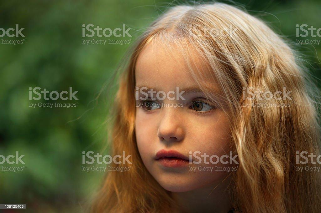 Portrait of Blond Little Girl Outside royalty-free stock photo