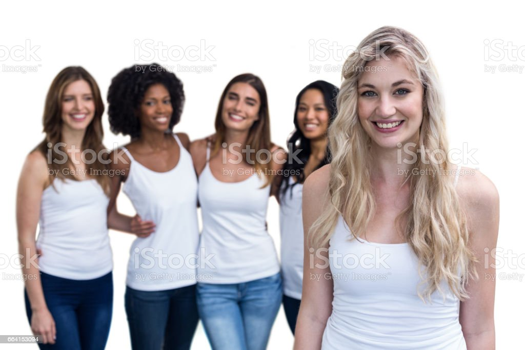 Portrait of blonde woman and multiethnic women foto stock royalty-free