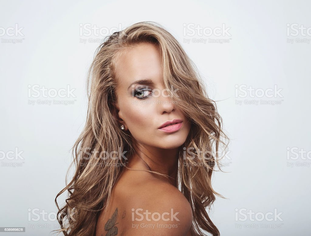 Portrait Of Blue Eyed Blonde With Professional Make Up Stock