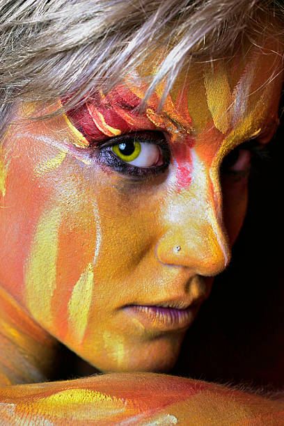 Portrait of Body Painted Woman stock photo