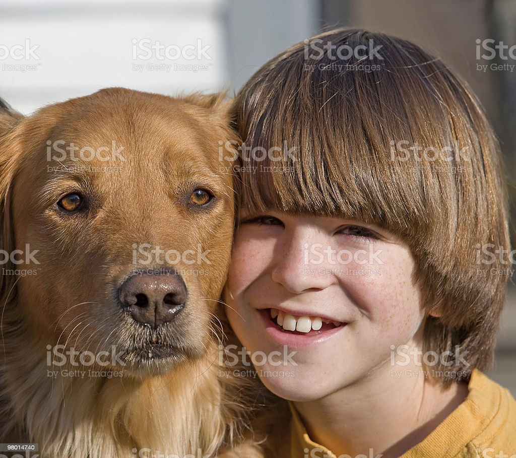 Portrait of Boy and Dog royalty-free stock photo