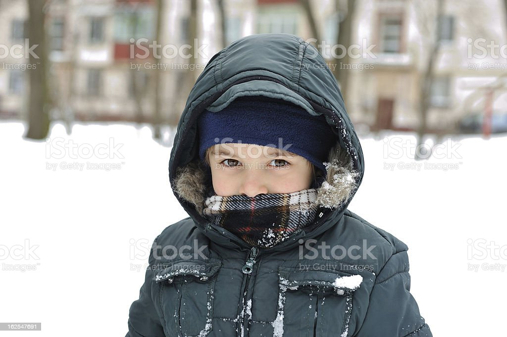 portrait of  boy in winter clothes royalty-free stock photo