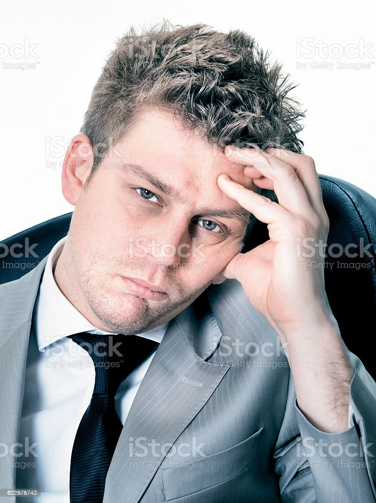 Portrait of  breakdown of businessman at the office stock photo