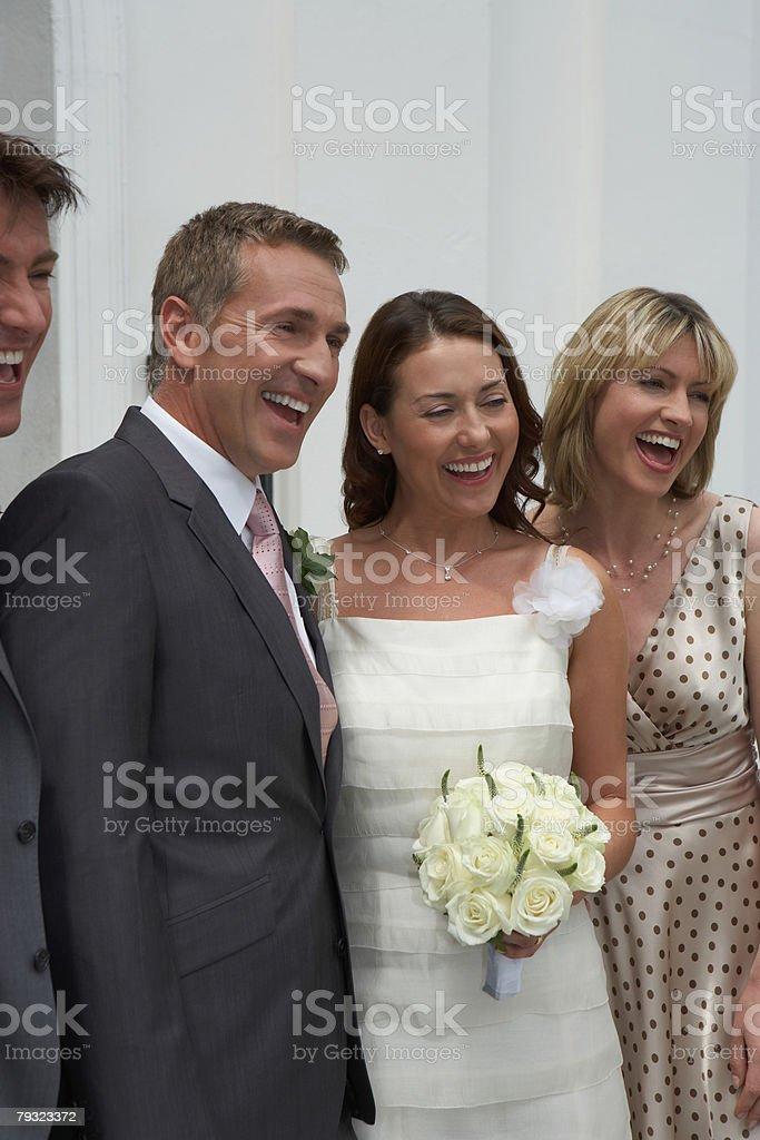 Portrait of bride groom best man and matron of honour 免版稅 stock photo