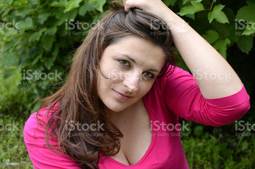 Portrait of brunette girl stock photo