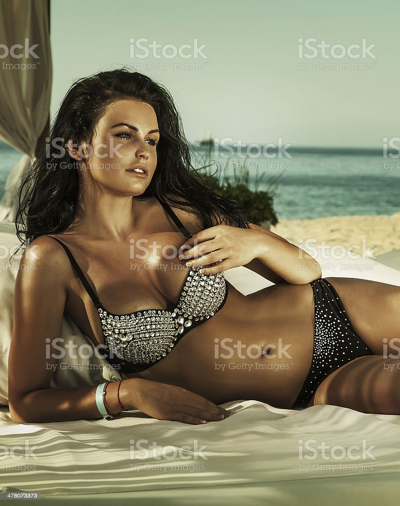 Portrait of brunette girl relaxing. royalty-free stock photo
