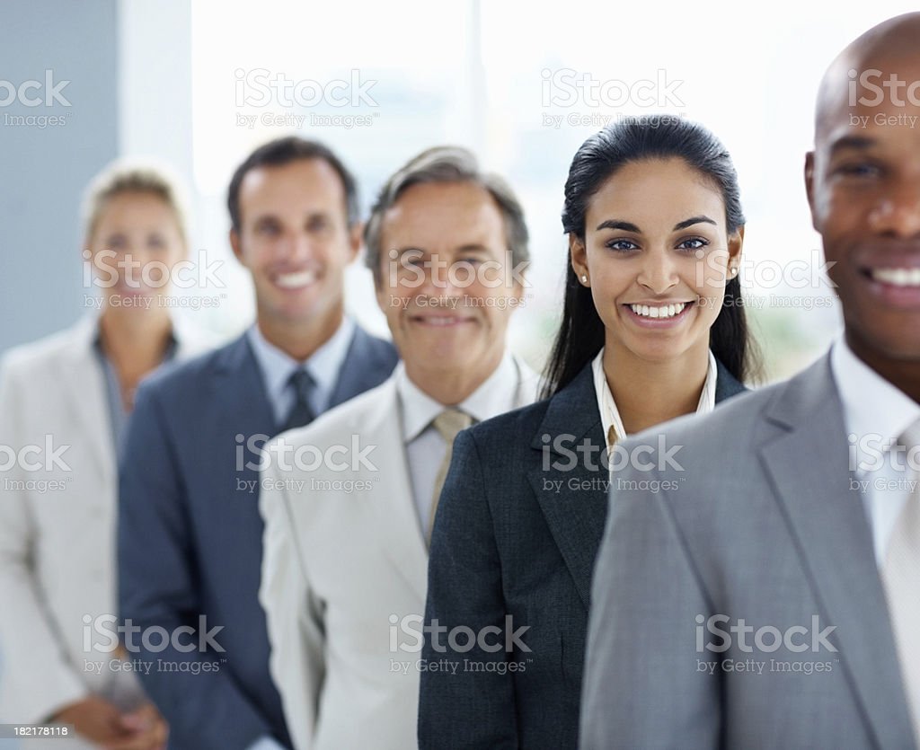 Portrait of business colleagues standing in a line royalty-free stock photo