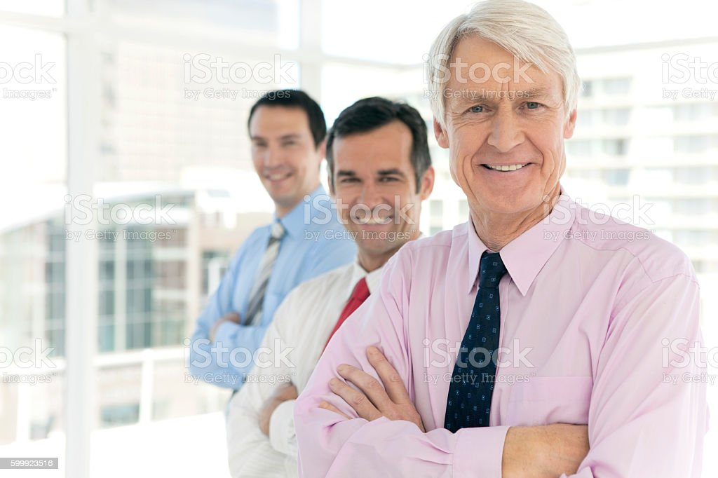 Portrait of business managers standing in a row stock photo