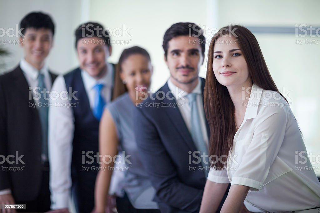 Portrait of business people in office stock photo