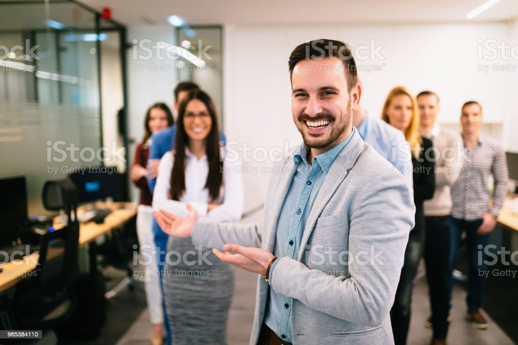 Portrait of business team posing in office royalty-free stock photo