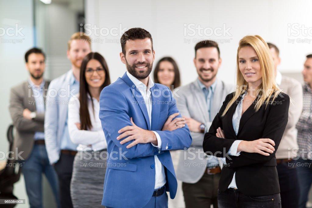 Portrait of business team posing in office zbiór zdjęć royalty-free