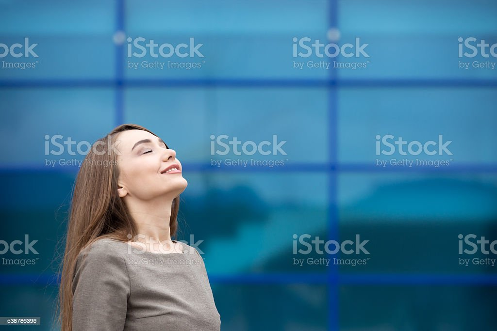 Portrait of business woman relaxing and feeling happy. Copy spac stock photo