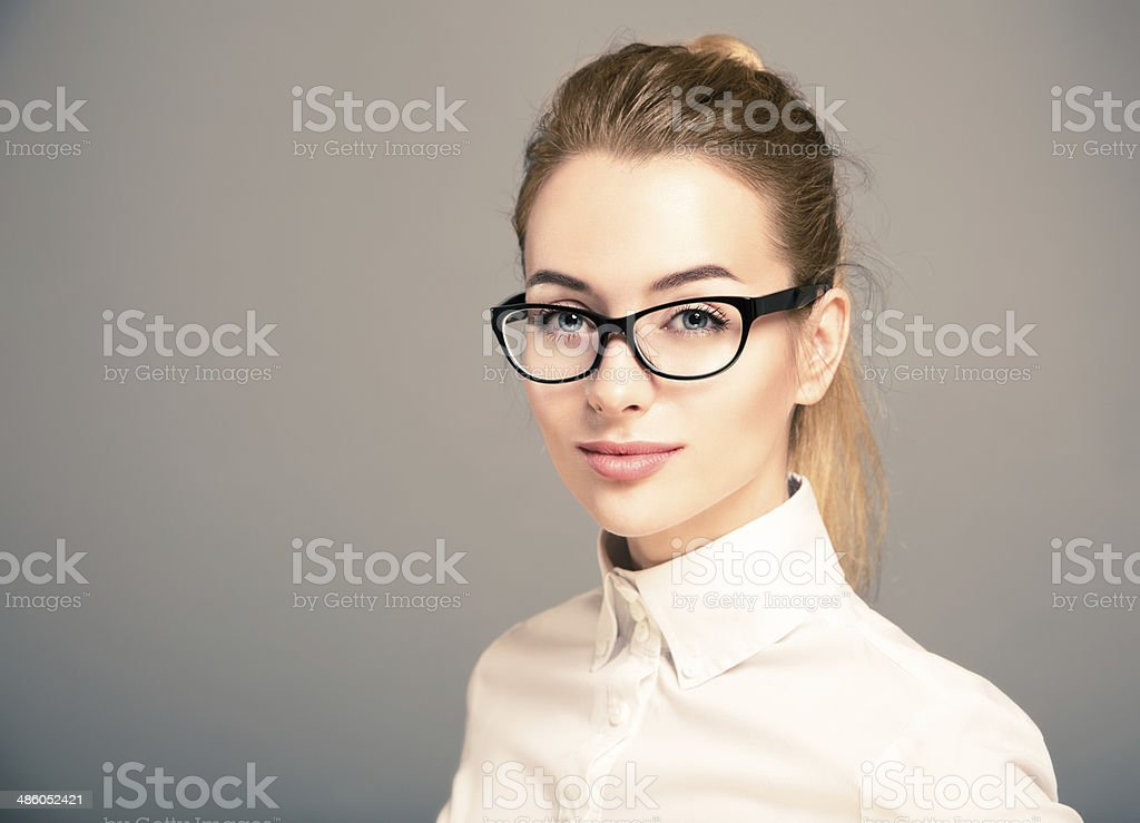 Portrait of Business Woman Wearing Glasses stock photo