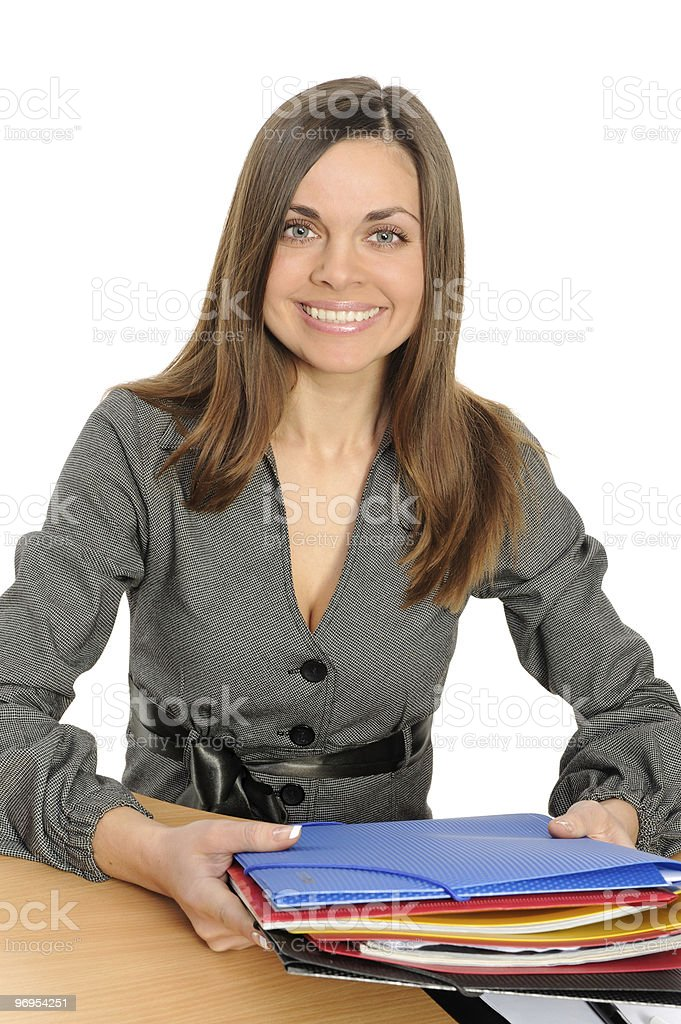 Portrait of business woman with a folder royalty-free stock photo