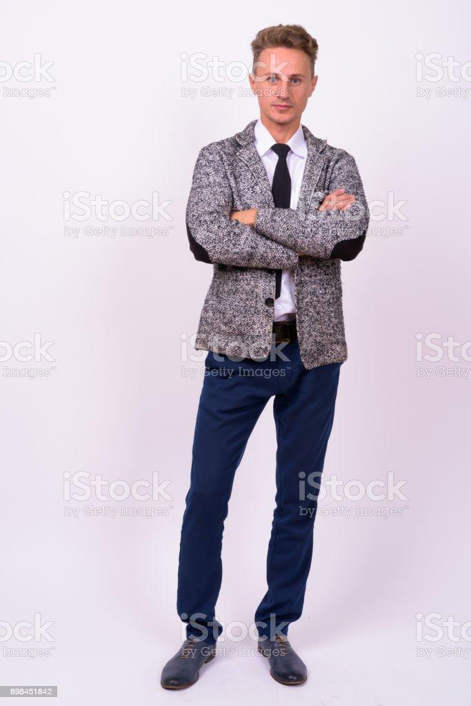 Portrait Of Businessman Against White Background stock photo