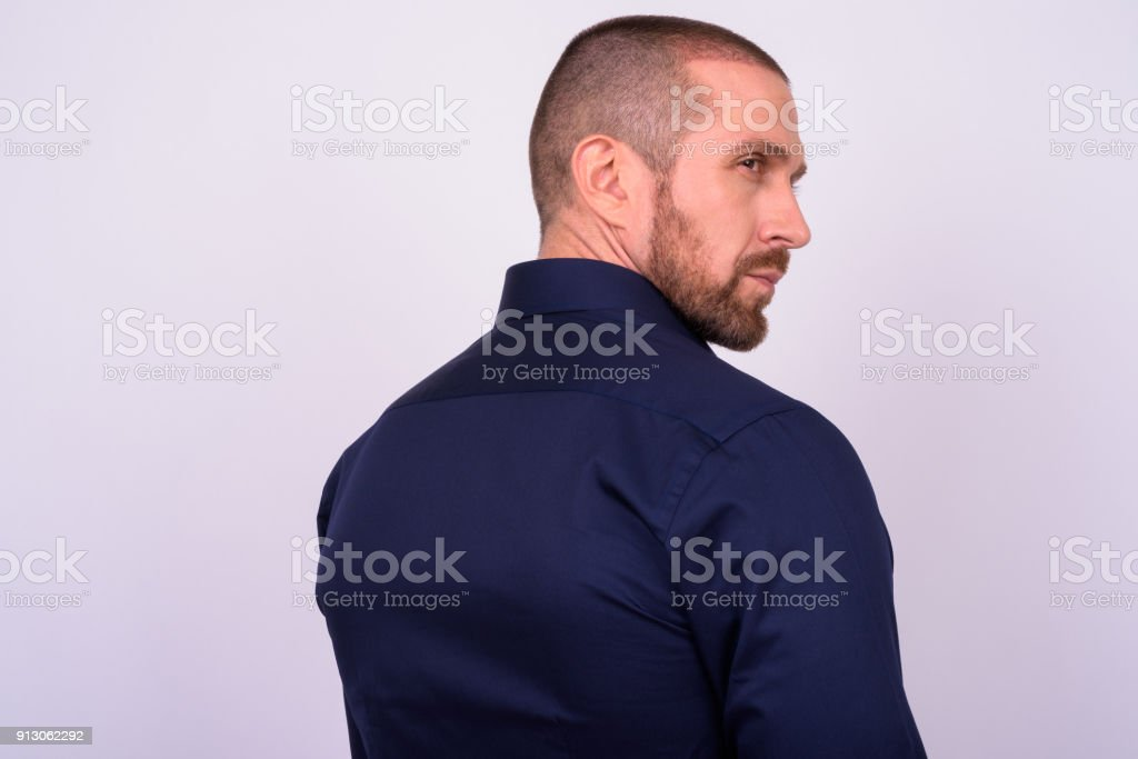 Portrait Of Businessman Against White Background stock photo