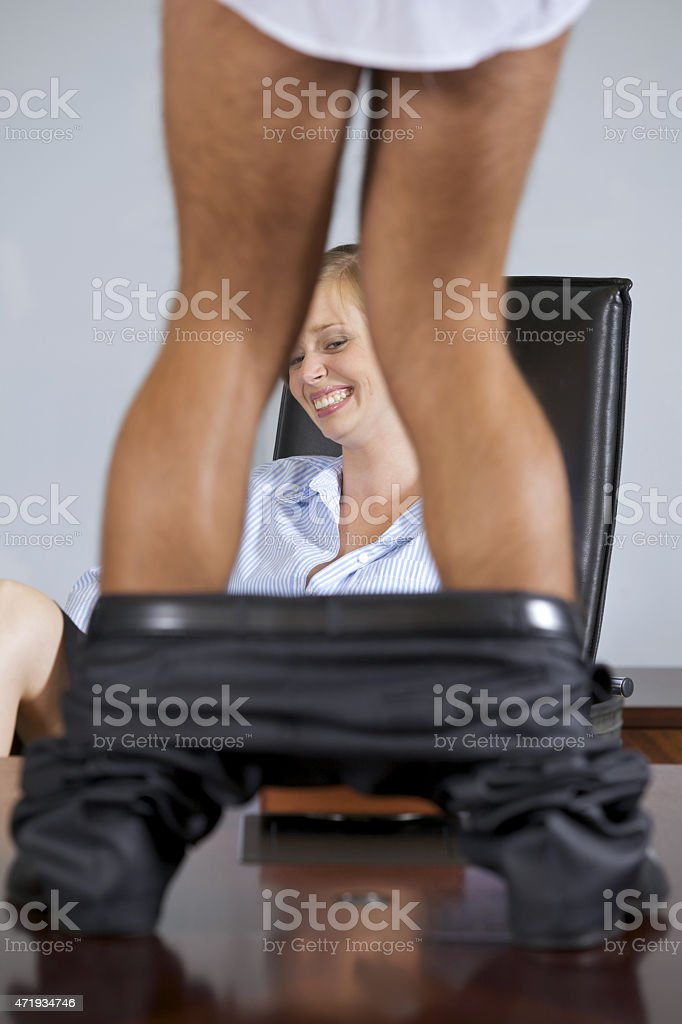Portrait of businessman and businesswomen smiling in office stock photo