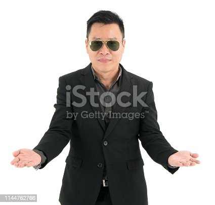 951331990 istock photo Portrait of businessman in suit is happy and present some useful things isolated on white background 1144762766