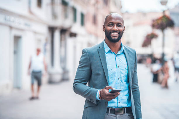 Portrait of businessman in the city stock photo