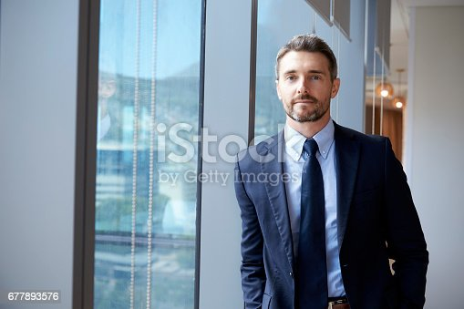 istock Portrait Of Businessman Standing By Window In Office 677893576
