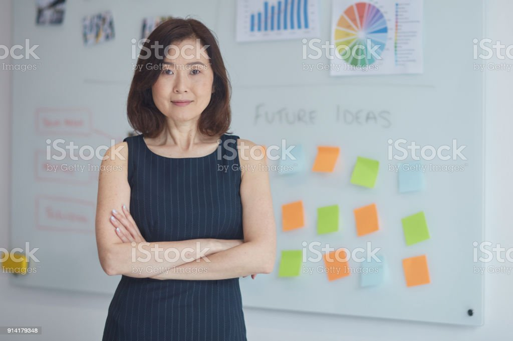 Portrait of businesswoman against whiteboard stock photo