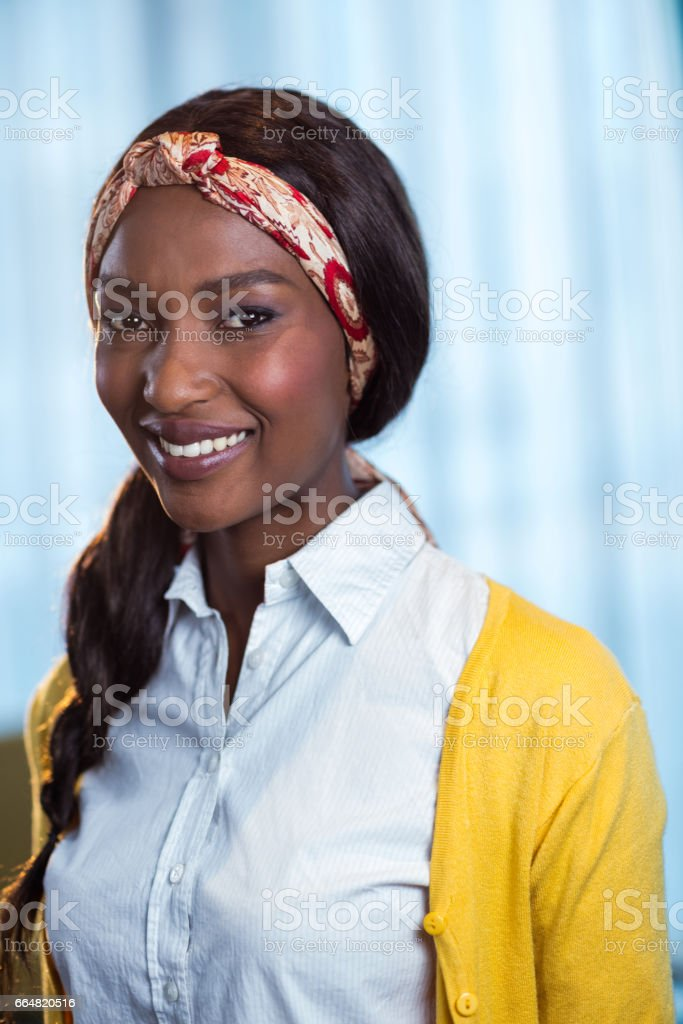 Portrait of businesswoman smiling stock photo