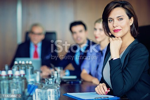 Portrait of businesswoman with her team in the office