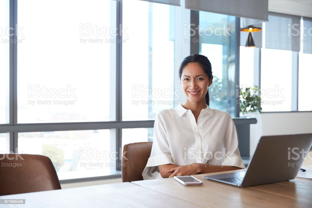 Portrait Of Businesswoman Working On Laptop In Boardroom stock photo