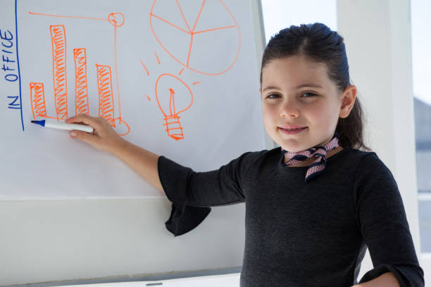 portrait of businesswoman writing on whiteboard - 8 infographic stock photos and pictures