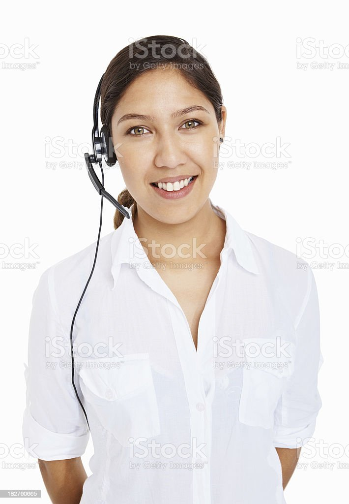 Portrait of call center employee wearing headset against white background royalty-free stock photo