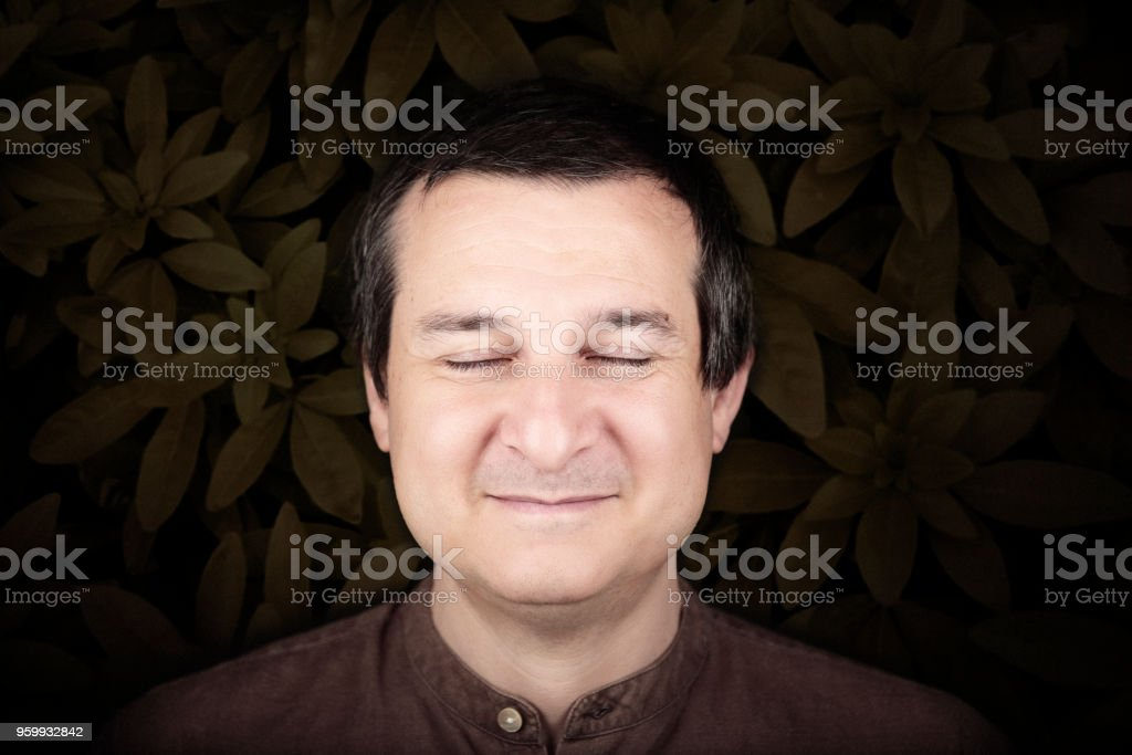 portrait of calm serene man with leaves stock photo