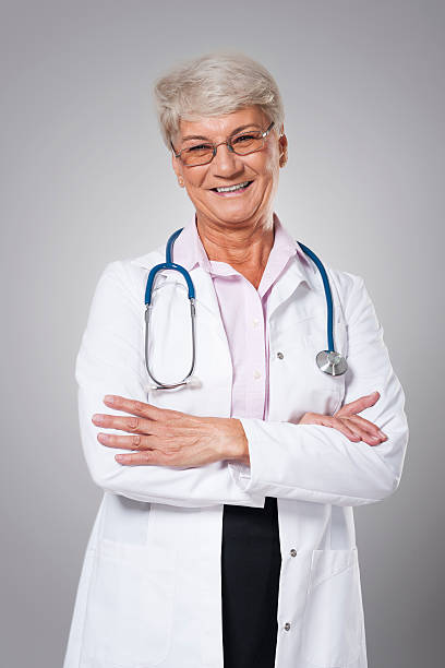 Portrait of candid female doctor stock photo