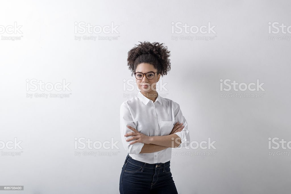 Portrait of casual businesswoman, copy space royalty-free stock photo