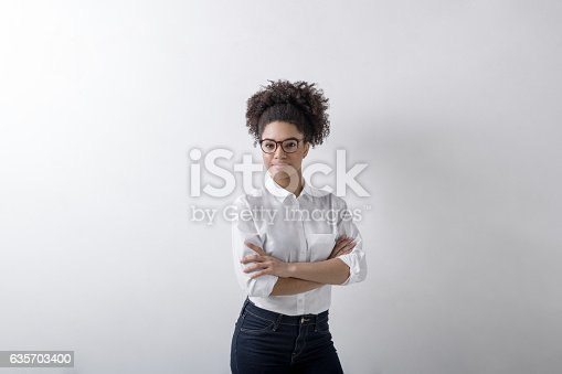 Portrait Of Casual Businesswoman Copy Space Stock Photo & More Pictures of Adult
