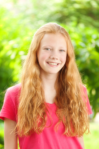 young girl with red hair stock photo image of forest portrait of caucasian teenage girl with red hair stock