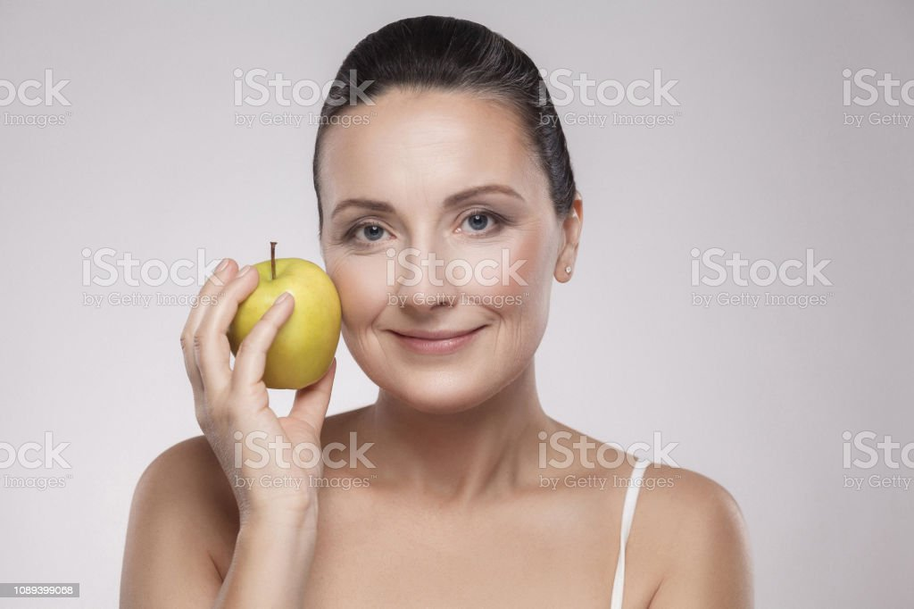 Portrait Of Charming Beautiful Healthy Caucasian Middle Aged