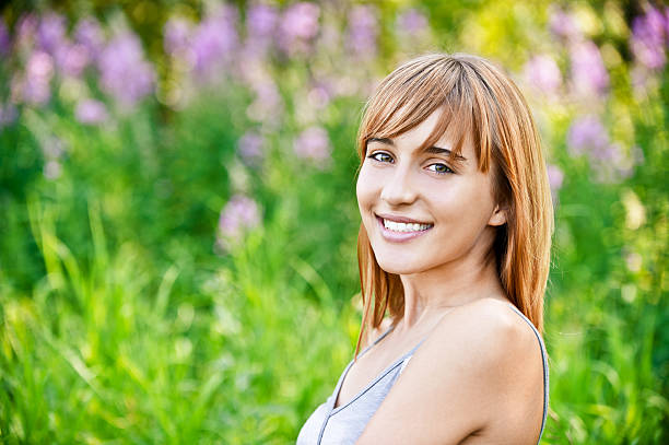 Portrait of charming fair-haired girl stock photo