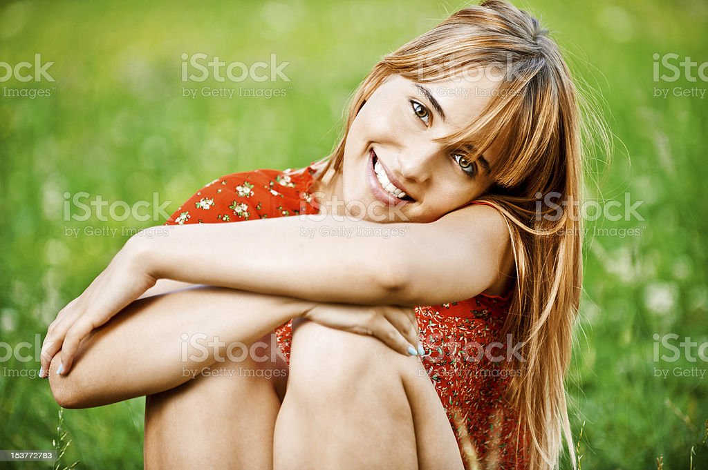 Portrait of charming fair-haired girl royalty-free stock photo