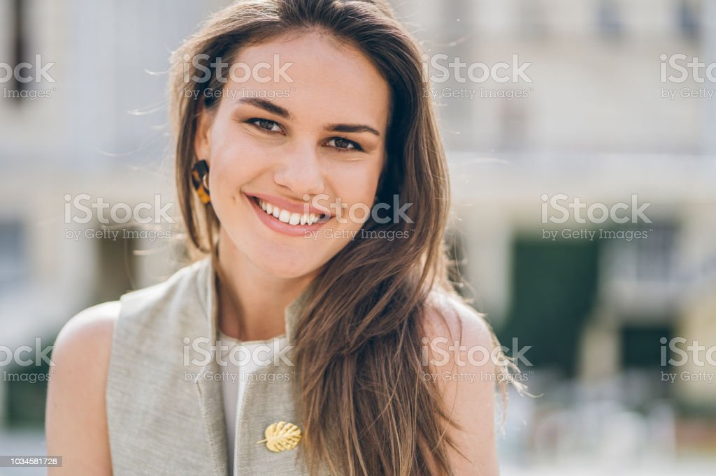 Portrait of charming girl stock photo