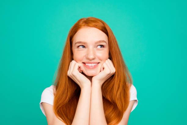 Portrait of charming lovely cute beautiful sweet lady look aside by picture id1060900556?b=1&k=6&m=1060900556&s=612x612&w=0&h=p80bcjkfw6kcbhwvwdfgb0i vx5w5pqh60dnr13uuzc=