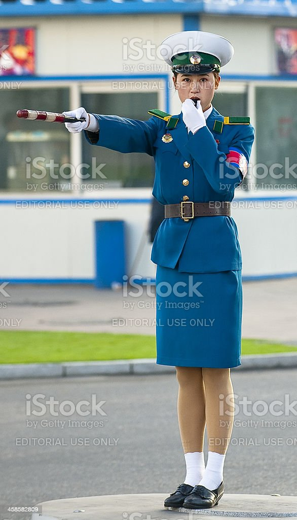Portrait of charming police woman in Pyongyang stock photo