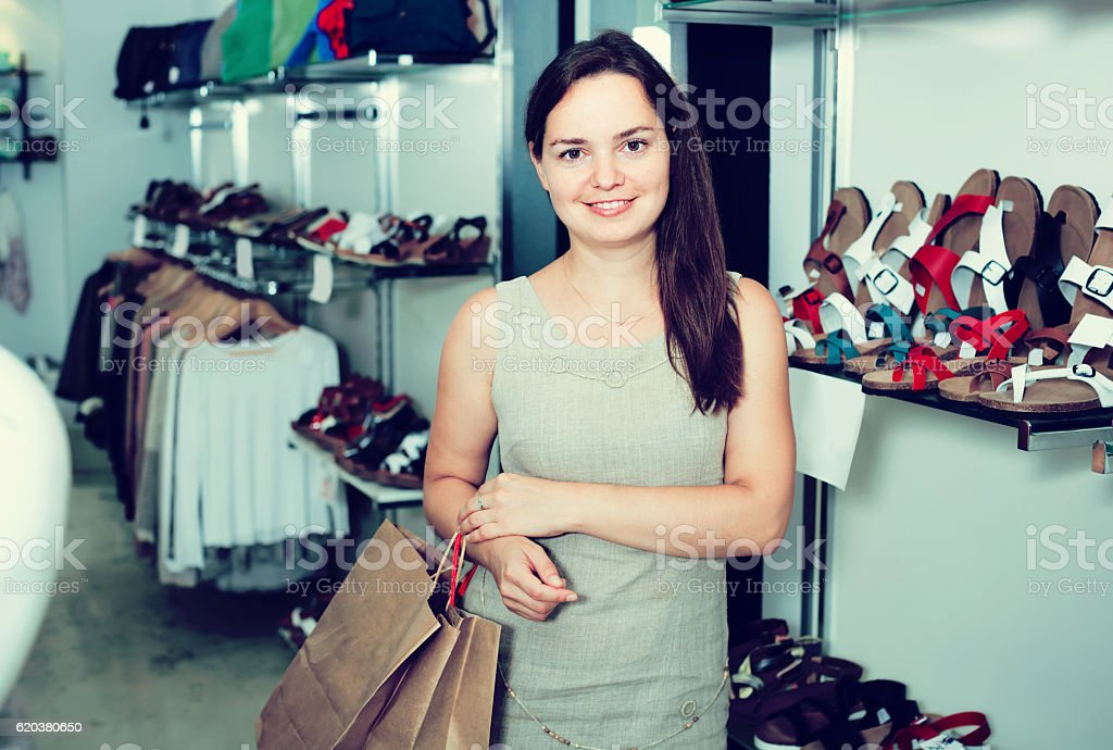 Portrait of cheerful female in store foto de stock royalty-free