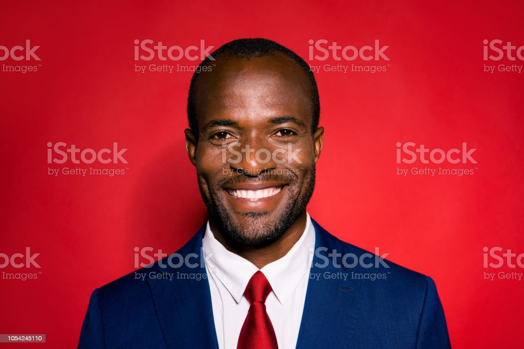 604e29eac6 Portrait of cheerful glad nice successful optimistic positive handsome  attractive content wealthy man corporate company owner founder in blue suit  isolated ...