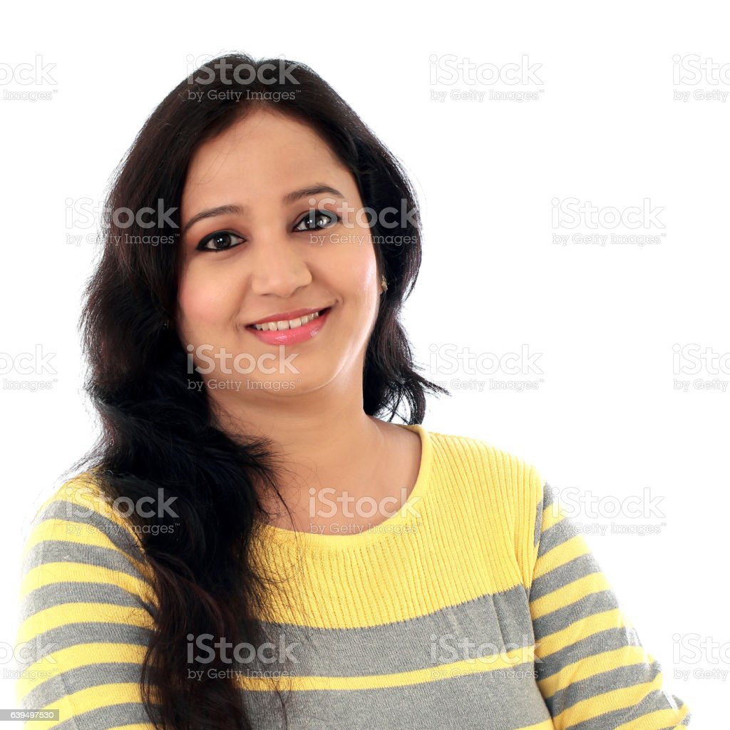 Portrait of cheerful Indian young woman stock photo
